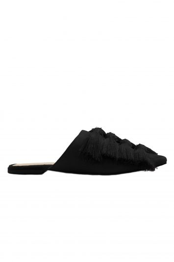 Click to Buy Mango Fringed Black Slip On Mules