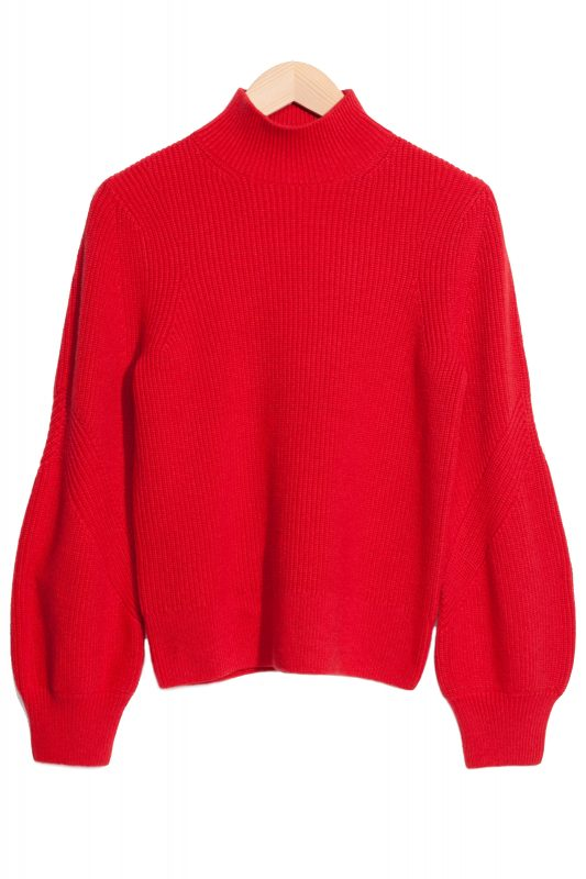 Click to Buy & Other Stories Red Puffy Sleeve Sweater