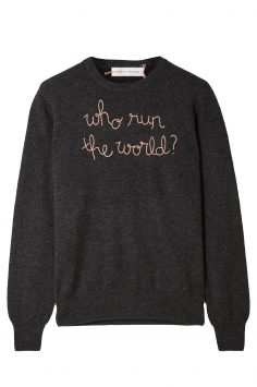 Click to Buy Lingua Franca Who Run the World Cashmere Embroidered Sweater