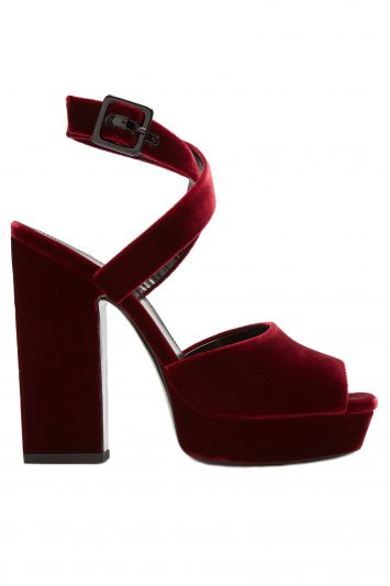 Click to Buy Saint Laurent Debbie Velvet Platform Heels