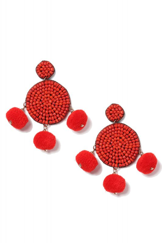 Click to Buy Topshop Red Pom Pom Earrings