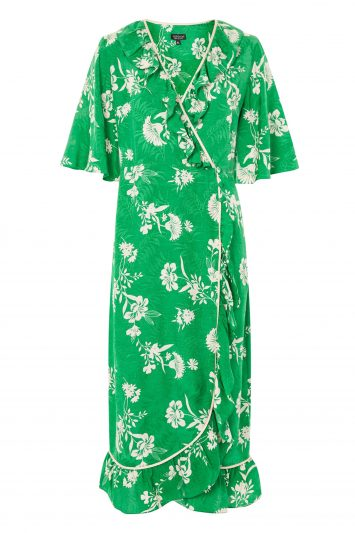 Click to Buy Topshop Leaf Print Ruffle Wrap Dress