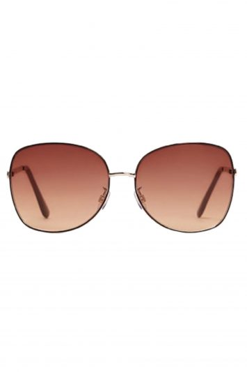 Click to Buy Mango Gold Metal Frame Sunglasses
