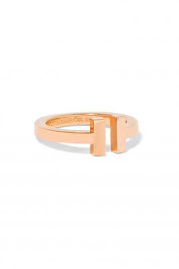 Click to Buy Tiffany & Co T Square 18-karat rose gold ring