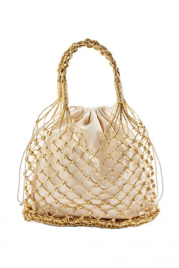 Click to Buy Topshop Gold String Bag