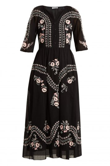 Click to Buy Vilshenko Geneve Black Embroidered Short Sleeve Cotton Dress
