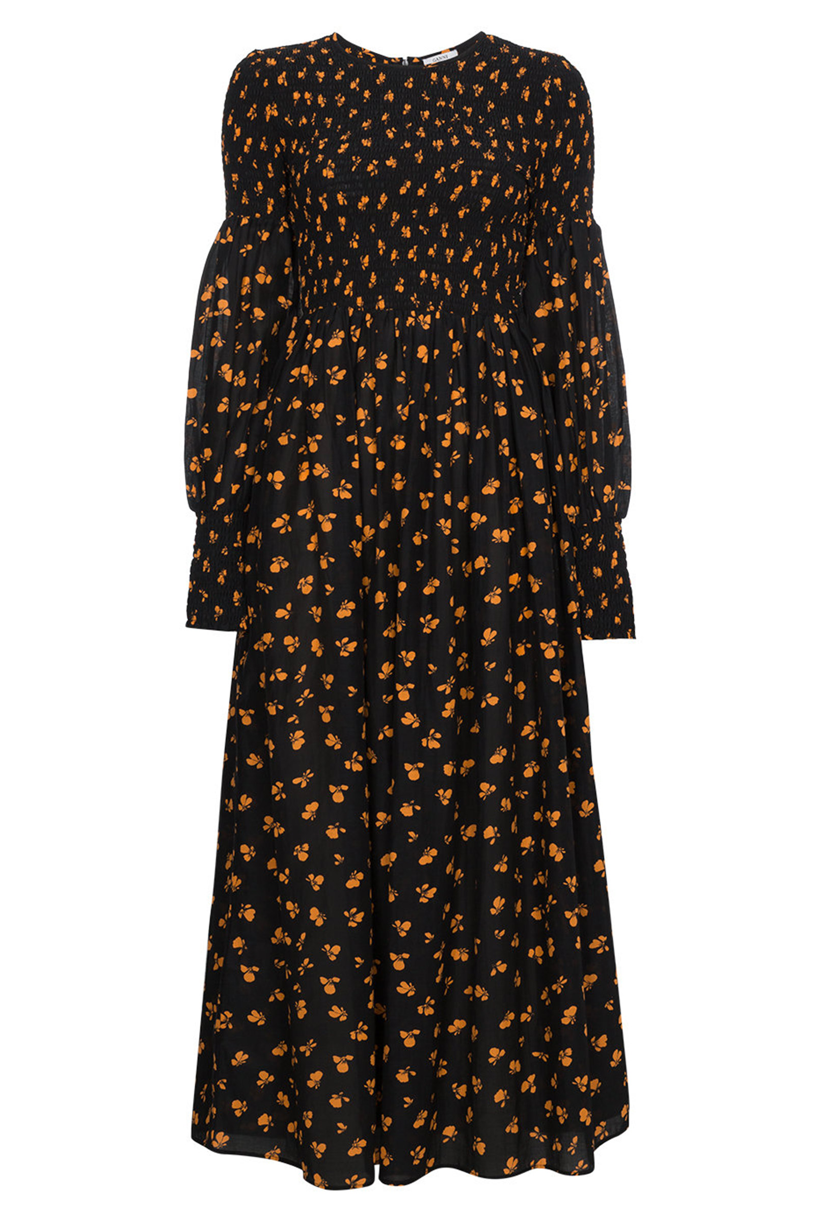 160a0af8 Buy Ganni Beacon Print Smocked Maxi Dress Online