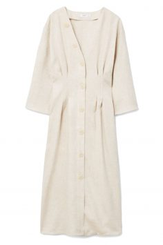Click to Buy Mango Linen Blend Midi Dress