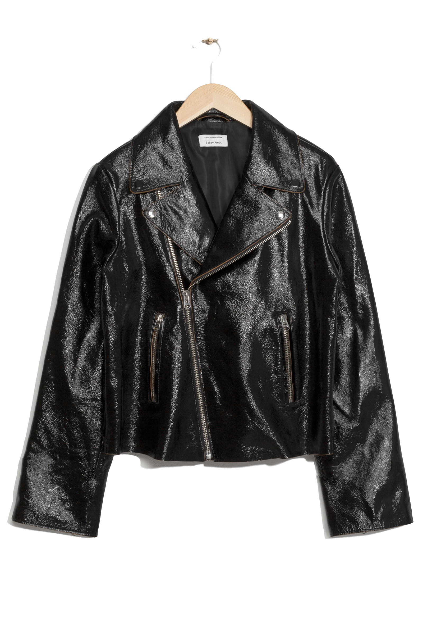 Click to Buy & Other Stories Patent Leather Biker Jacket