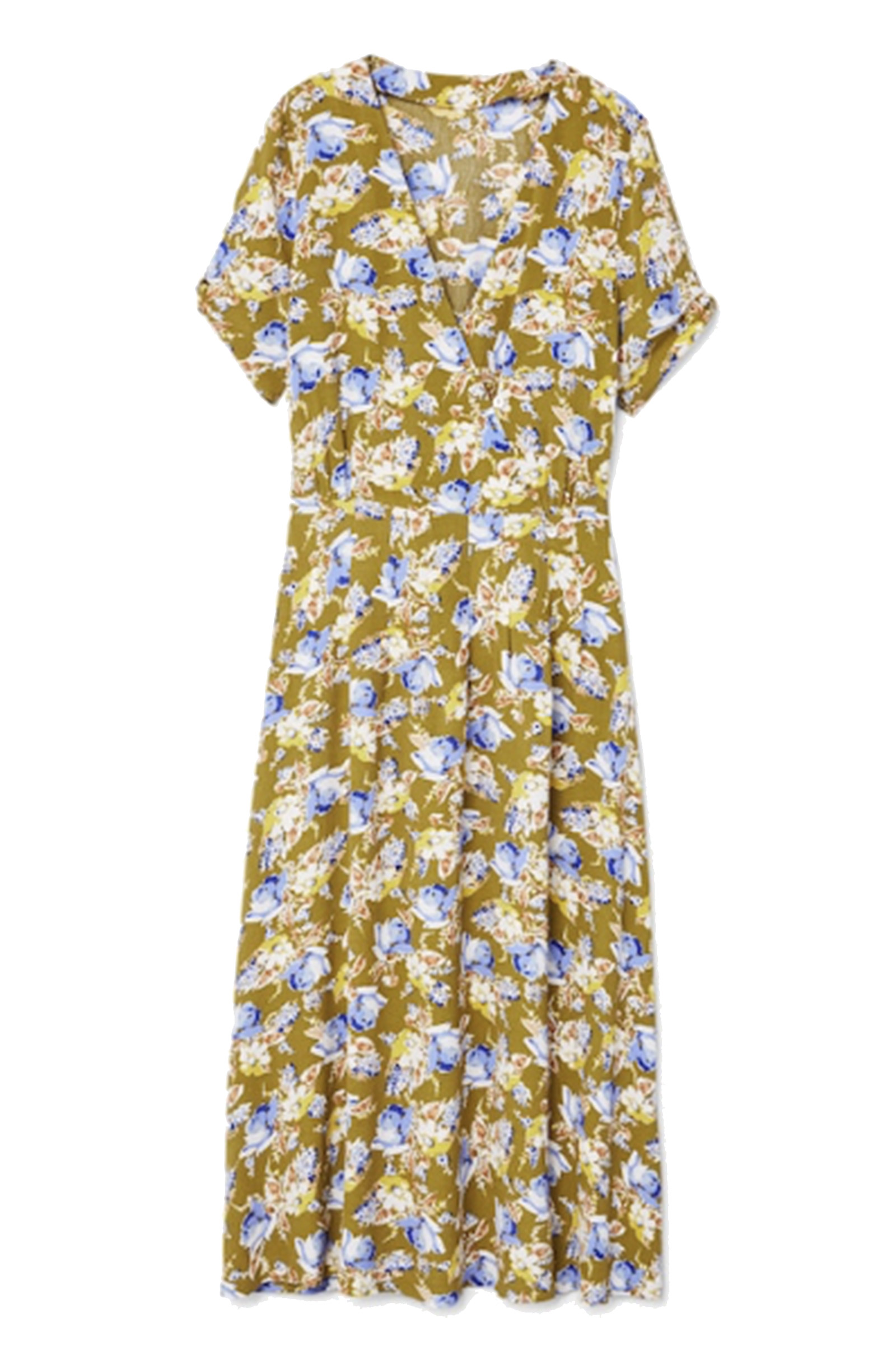 Click to Buy Mango Floral Khaki Wrap Dress