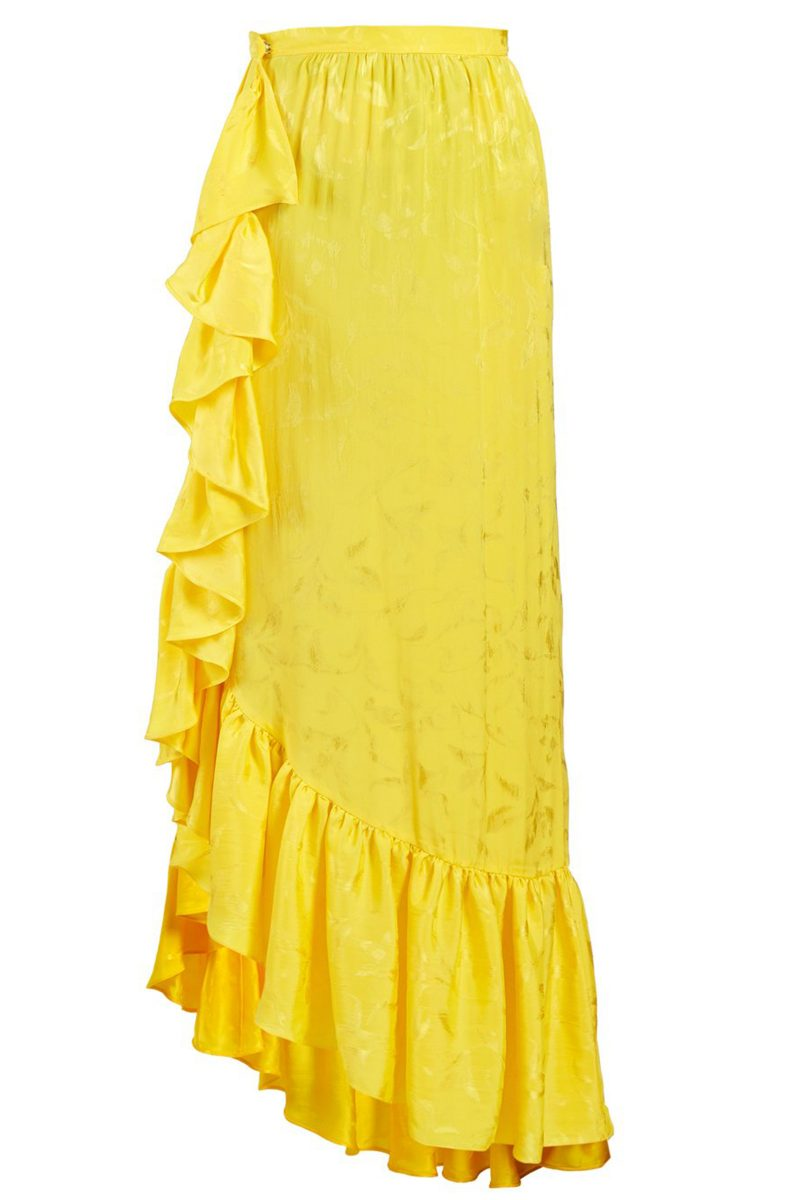 Click to Buy Attico Yellow Asymmetric Jacquard Skirt