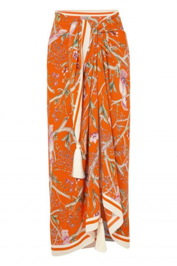 Click to Buy Johanna Ortiz Barbara tasseled printed silk-crepe pareo