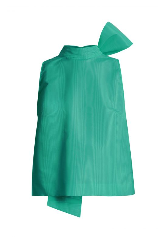 Click to Buy MSGM Jade Green Bow Detail Faille Top