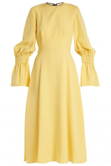 Click to Buy Roksanda Yellow Duana Shirred Cuff Dress