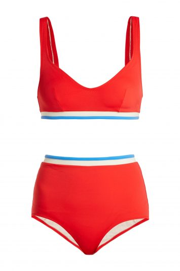 Click to Buy Solid & Striped Red Bikini Set