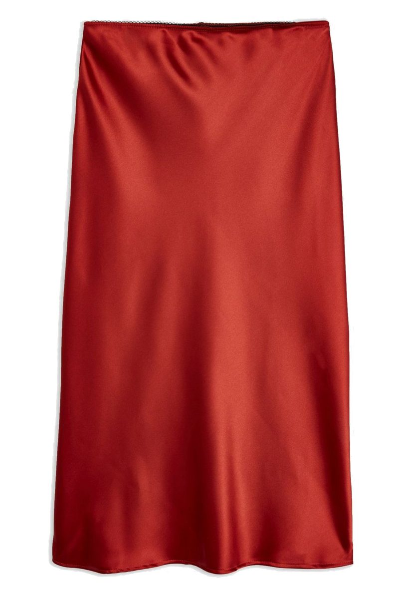 Click to Buy Topshop Satin Bias Cut Midi Skirt