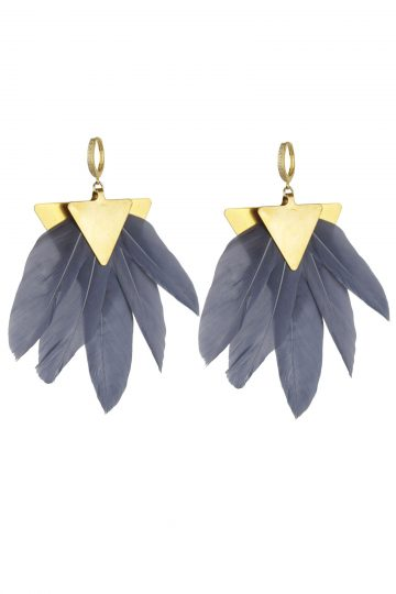 Katerina-Psoma-Grey-Feather-Earrings