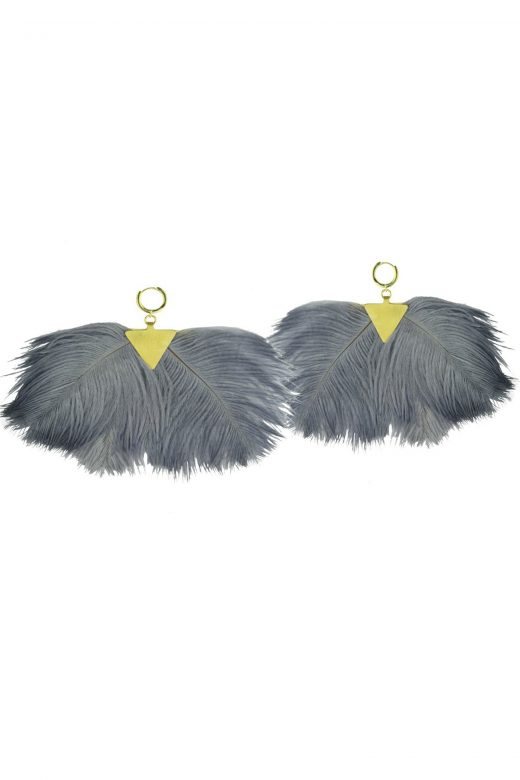 Katerina-Psoma-Grey-Ostrich-Feather-Earrings