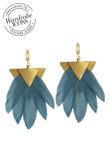 Katerina Psoma Artemis Petrol -feather-earring