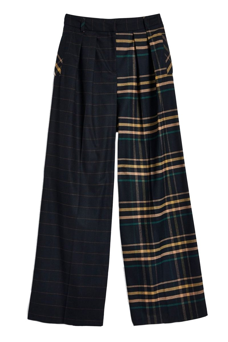 Click to buy Topshop Mixed Check Wide Leg Trousers