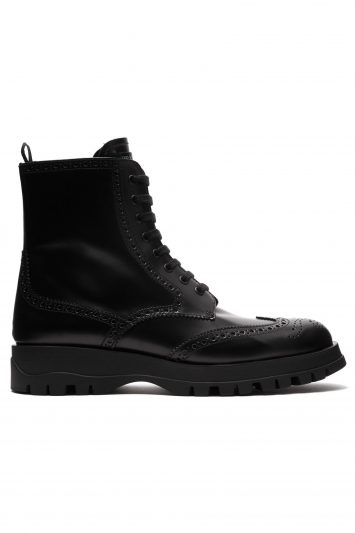 Click to Buy Prada Lace Up Leather Brogue Ankle Boots