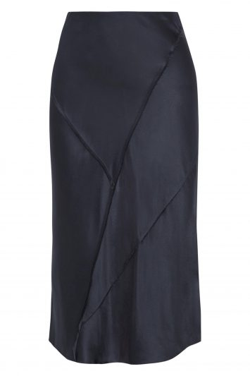 Click to Buy Vince Paneled Silk-satin Midi Skirt