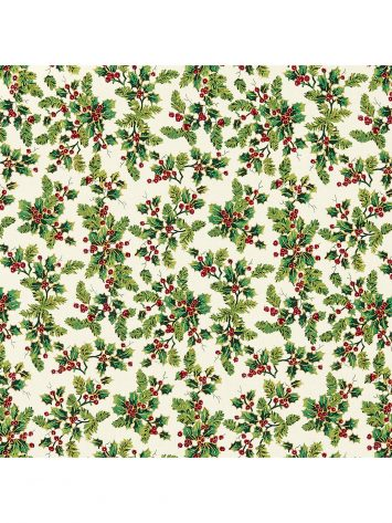 Click to Buy Green Holly Print Fabric, Cream
