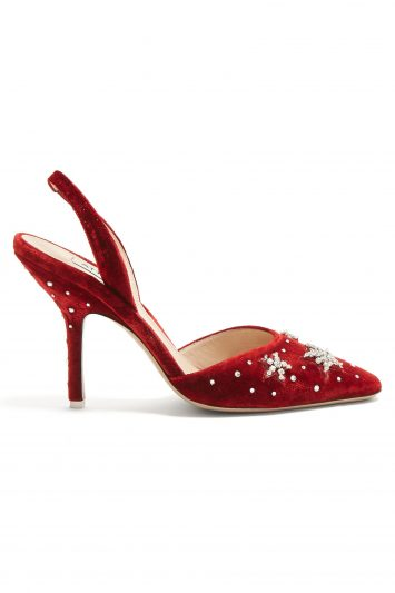 Click to Buy Attico Crystal-embellished velvet slingback pumps