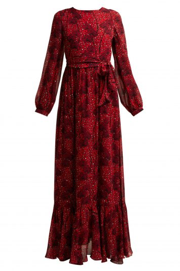 Click to Buy Borgo De Nor Dianora orchid and leopard-print silk maxi dress