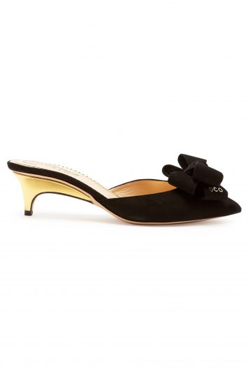 Click to Buy Charlotte Olympia Suede bow kitten-heel mules