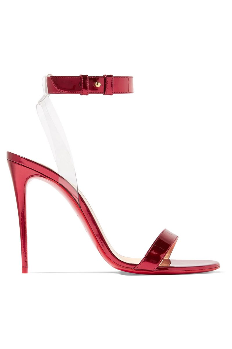 Click to Buy Christian Louboutin Jonatina 100 PVC-trimmed mirrored-leather sandals