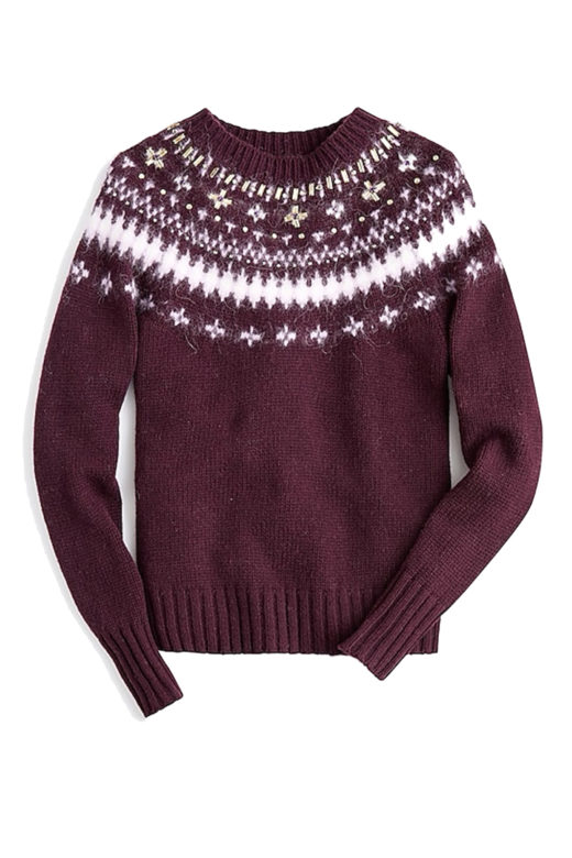Click to Buy Click to Buy Jeweled embellished Fair Isle crewneck sweater