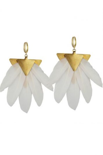 Click to Buy Artemis Feather Gold Plated Metal Earrings