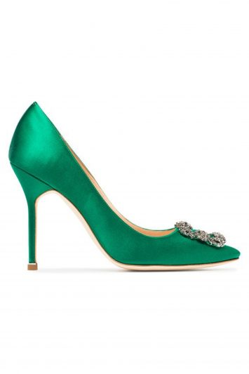 Click to Buy Manolo Blahnik Green Hangisi 105 pumps with jewel buckle