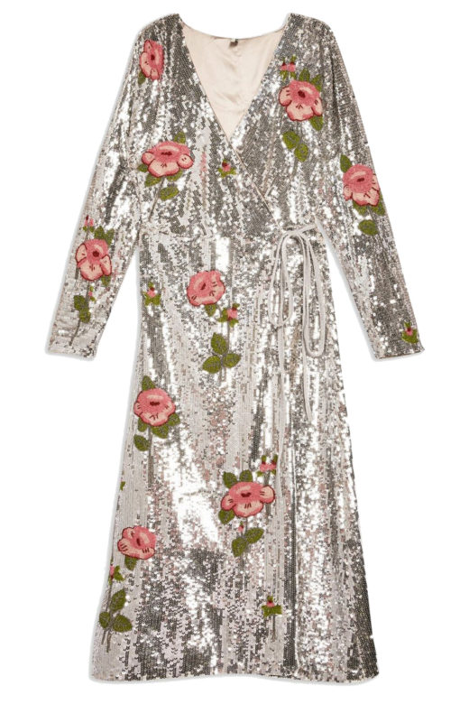 Click to Buy Topshop Sequin Floral Beaded Wrap Dress