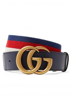 Click to Buy Gucci Striped canvas and leather belt