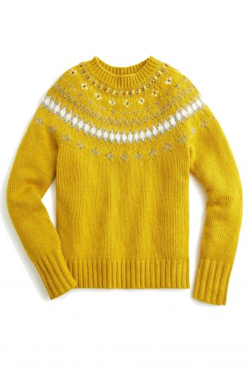 Click to Buy J. Crew Jeweled embellished Fair Isle crewneck sweater