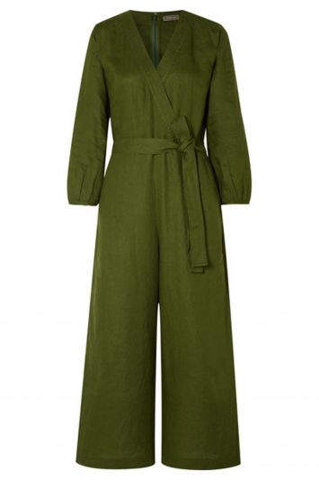 Fontana Belted Wrap-effect Linen Jumpsuit
