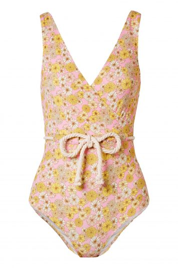 Click to Buy Yasmin Belted Floral-print Stretch-crepe Swimsuit