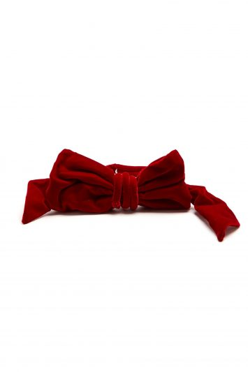 Bow-embellished Velvet Belt