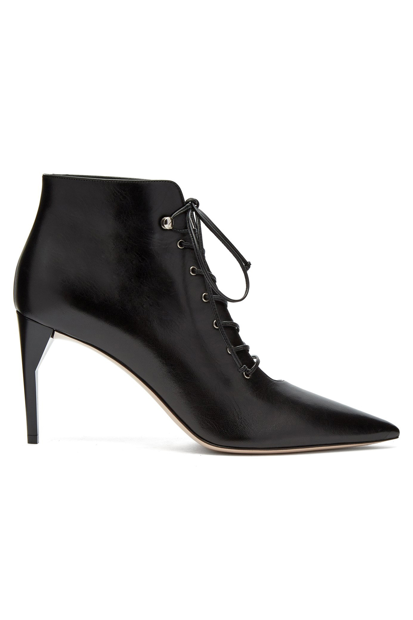 Lace up leather ankle boots | Miu Miu