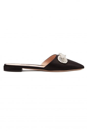 Miu Miu Crystal-embellished Backless Satin Loafers