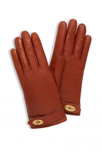 Click to Buy Mulberry Darley Nappa Leather Gloves, Cognac