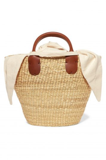 Click to Buy Muuñ Minho mini straw and cotton-canvas tote