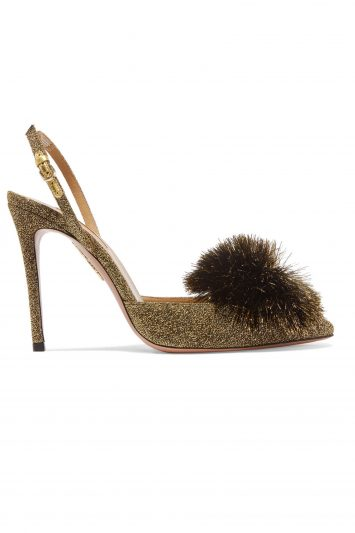 Click to Buy Aquazzura Powder Puff Pompom-embellished Slingback Pumps