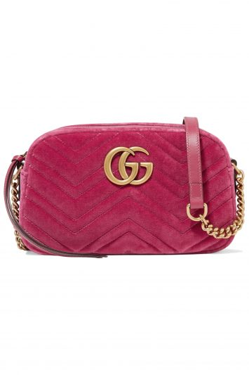 Click to Buy Gucci GG Marmont Camera mini leather-trimmed quilted velvet shoulder bag