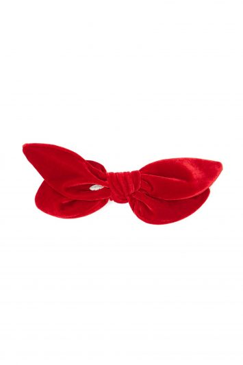 Knotted double-bow velvet hair slide