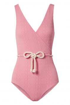 Click to Buy Lisa Marie Fernandez Yasmin belted seersucker swimsuit