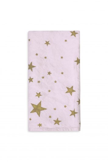Summerill & Bishop Falling Stars Linen Napkin in Pale Pink with Gold Stars