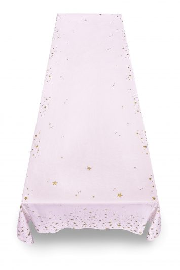 Summerill & Bishop Falling Stars Linen Tablecloth in Pale Pink with Gold Stars